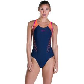 speedo Fit Laneback Swimsuit Women Navy 34/Fluo Orange/Diva